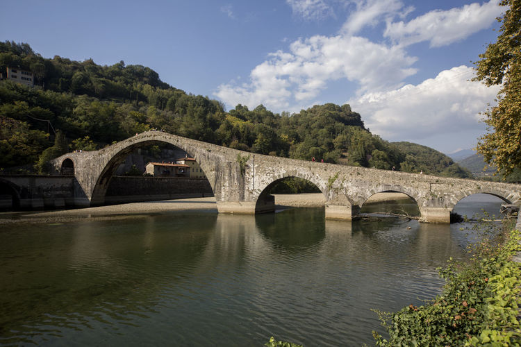Idyllic Nature Tranquility Tranquil Scene Tra Ponte Del Diavolo Bridge Bridge - Man Made Structure Connection Water Arch Built Structure Architecture Sky River Cloud - Sky Outdoors Nature Borgo A Mozzano Toscana Covered Bridge