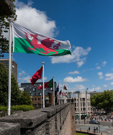 Blue Castle Cloud Cloud - Sky Day Dragon Flag National Flag Outdoors Patriotism Sky Sunny Wales Welsh Wind