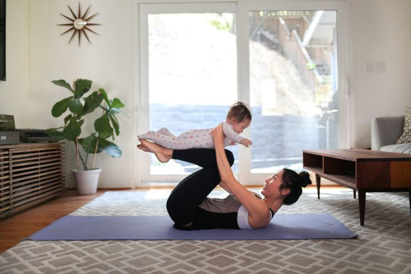 Mommy and baby doing yoga at home Home Living Room New Mother Mommylife Baby Motherhood Workout Healthy Lifestyle Exercising Fitness Yoga Two People Full Length Love Togetherness Lifestyles Indoors  Women First Eyeem Photo EyeEmNewHere