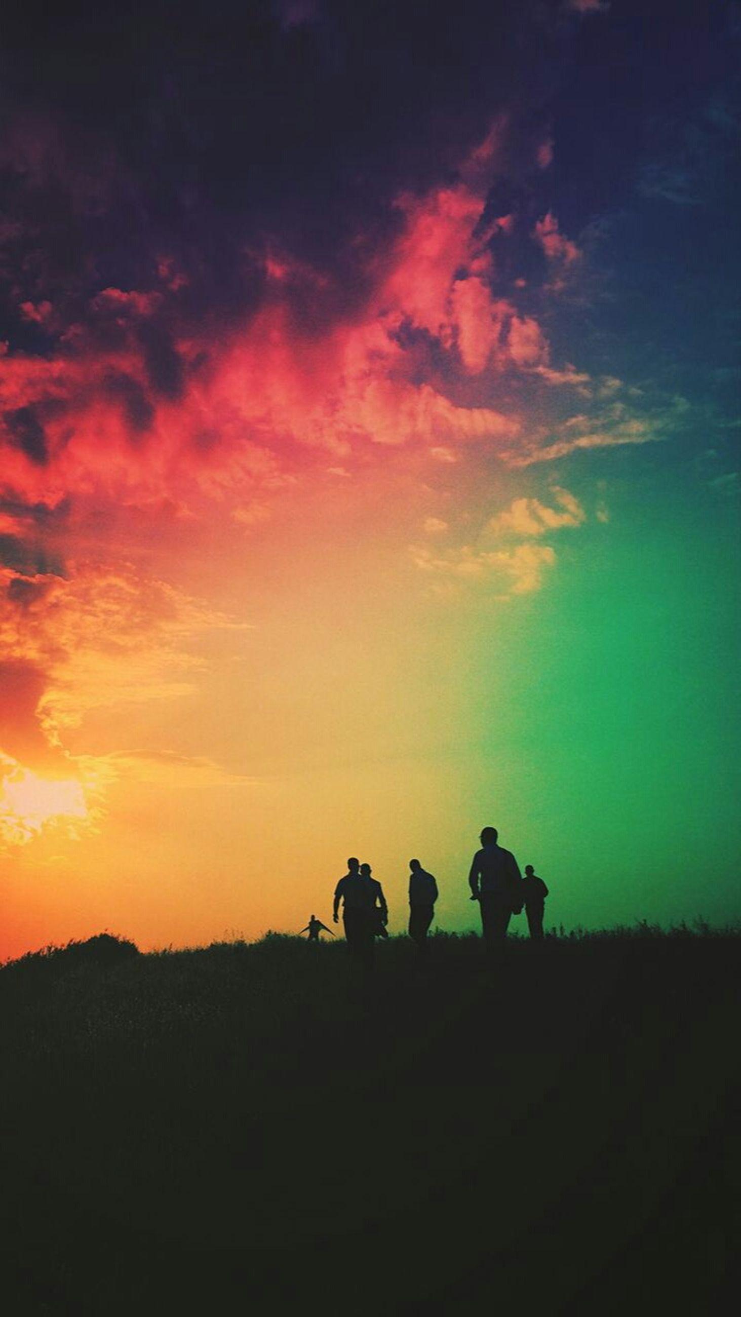 silhouette, sunset, sky, beauty in nature, scenics, tranquil scene, tranquility, landscape, cloud - sky, nature, orange color, men, idyllic, cloud, dusk, field, outline, outdoors, unrecognizable person