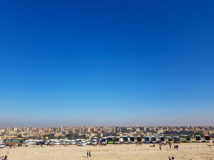 Panoramic view of cairo against clear blue sky