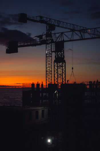Architecture Built Structure Sky Sunset Industry Building Exterior Silhouette Crane - Construction Machinery Machinery No People Nature Development Orange Color Construction Industry Outdoors Cloud - Sky City Construction Site Building Construction Equipment My Best Photo
