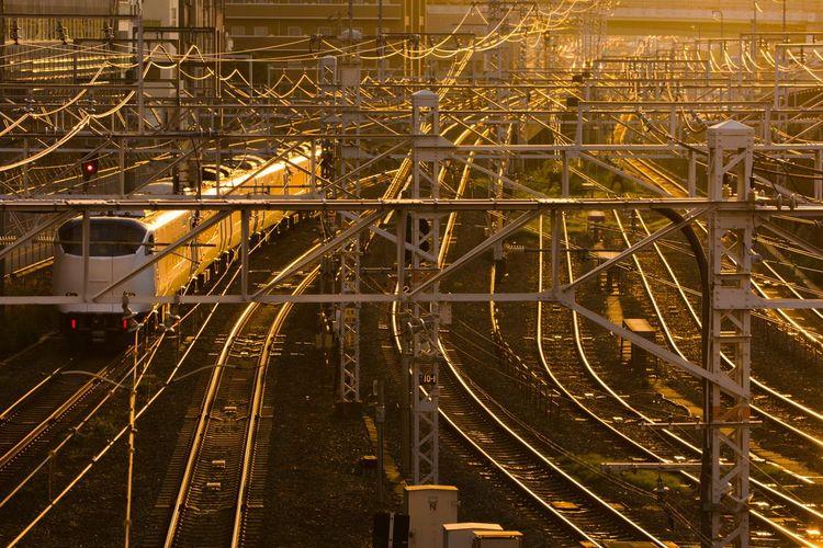 High Angle View Of Train On Railroad Tracks