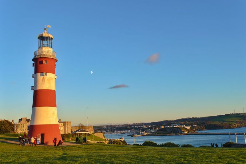 The lighthouse on The Hoe in Plymouth. Day Sky Outdoors Guidance Architecture Sea Blue Water Lighthouse Plymouth Hoe