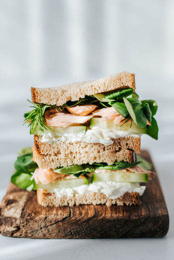 Close-up of sandwich on serving board