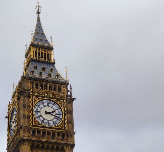 Low angle view of big ben against sky in city