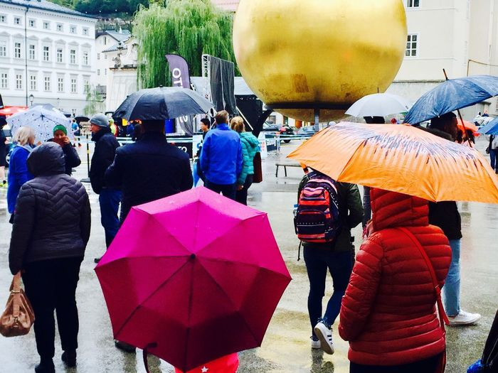 rainy * Mobilephotography Salzburg Multi Colored Umbrellas Umbrella Group Of People Real People City Women Adult Rear View Large Group Of People Men Architecture Street Crowd Wet Rain Outdoors