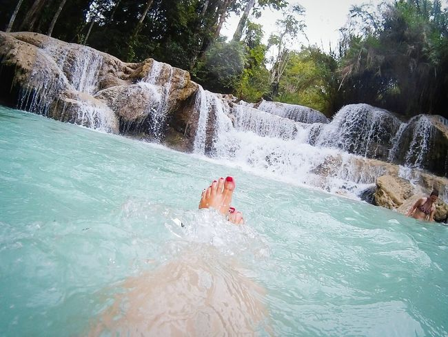 Good times in Laos at the Kuang Si waterfalls Julie Gatto Aroundtheworld Travel Travel Photography ASIA Idyllic Relaxing LaosLaos Qumox The Great Outdoors With Adobe