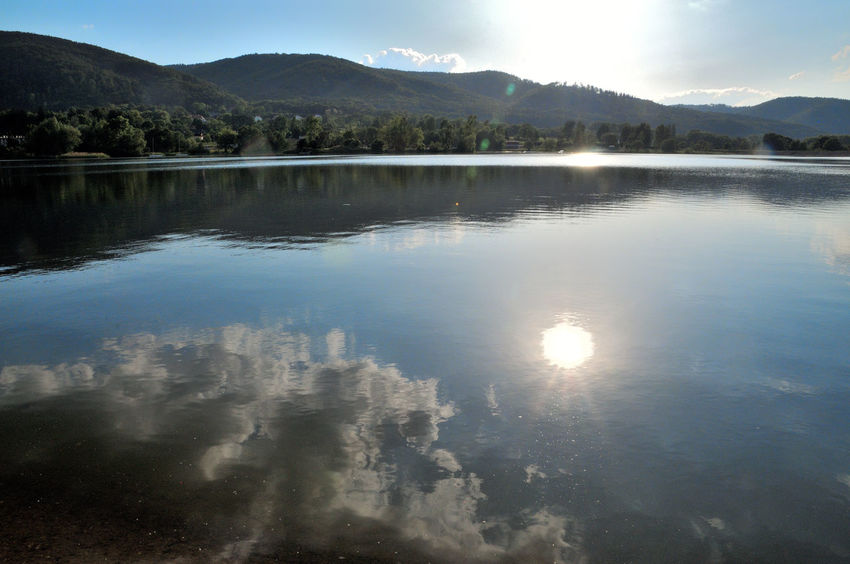 Mirror Beauty In Nature Cloud - Sky Day Idyllic Jezioro Bielawskie Lake Lake View Mountain Mountain Range Nature No People Non-urban Scene Outdoors Owl Mountains Reflection Scenics - Nature Sky Sun Sunlight Tranquil Scene Tranquility Water Waterfront