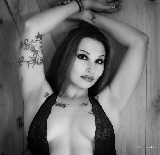 Nikon Adult Beautiful Woman Beauty Black And White Boudoir Front View Headshot Leisure Activity Lifestyles Lingerie Looking At Camera Monochrome On1 One Person Portrait Real People Tattoo Women Young Adult Young Women