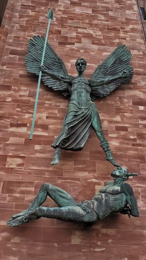 St Michael & Devil Sculpture on Coventry Cathedral - UK England 🌹 Coventry City The Week On EyeEm