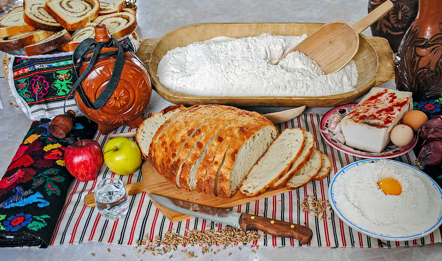 Romanian traditional meal arrangement Romanian Tradition Apple - Fruit Basket Black Olive Bread Breakfast Close-up Day Egg Food Food And Drink Freshness Healthy Eating Indoors  No People Ready-to-eat Romanian Food Salami Table Variation