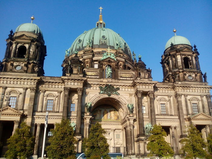 Low angle view of berlin cathedral against clear sky