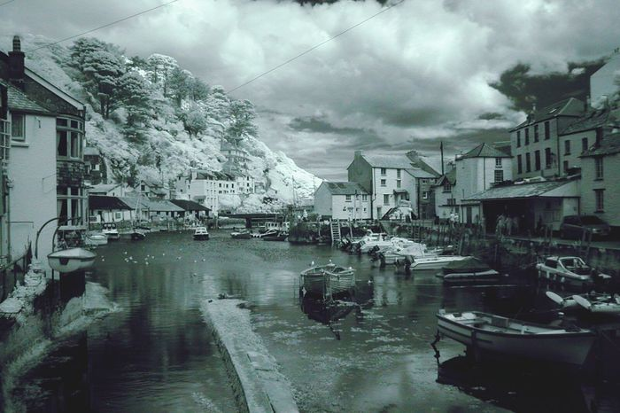 Polperro Cornwall Boats Fishing Village Sea Hills Trees Estuary Port Harbour Infrared IR