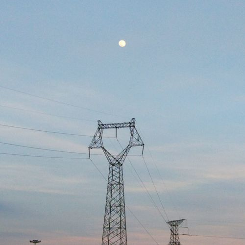 Moon Electricity Pylon Electricity  Cable No People Sky Day Outdoors Nature MIphotography Morning Morning Sky