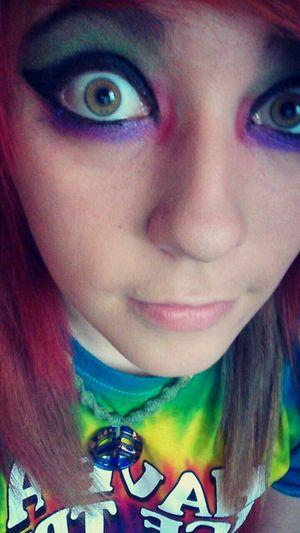 Colorful :3 My Eyeshadow❤ Dyed Hair :) Shortie Tye Dye Hazel Eyes  Awesome Colorful