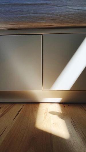 Sunlight falling on hardwood floor at home