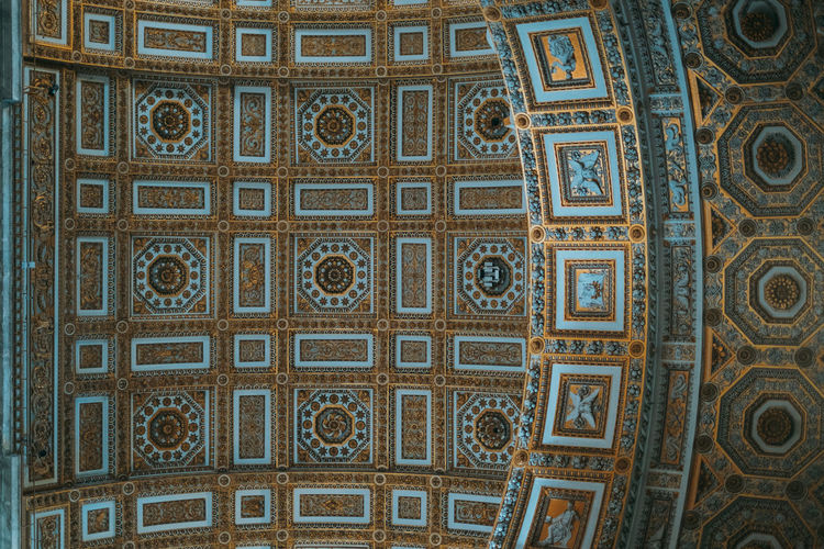Vatican Architecture Architecture And Art Art And Craft Backgrounds Building Built Structure Ceiling Creativity Day Design Directly Below Floral Pattern Full Frame Geometric Shape History Indoors  Low Angle View Mural No People Ornate Pattern Shape The Past Travel Destinations
