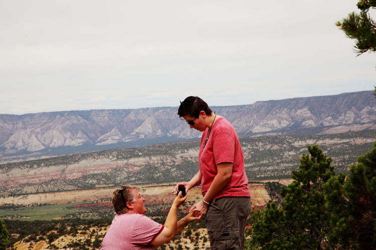 Lesbian woman proposing wife at dinosaur national monument