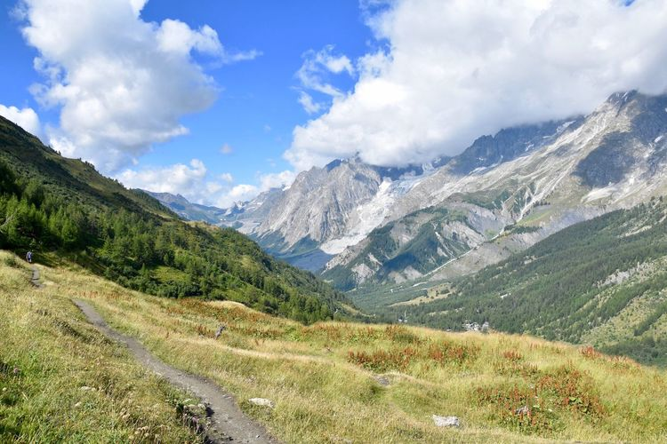Val Ferret Summer Wild Adventure Walking Trekking Valley Breathtaking Cloud - Sky Mountain Sky Scenics - Nature Beauty In Nature Tranquil Scene Environment Landscape Tranquility Mountain Range Nature Day Non-urban Scene No People Plant Tree Land Idyllic Travel Outdoors