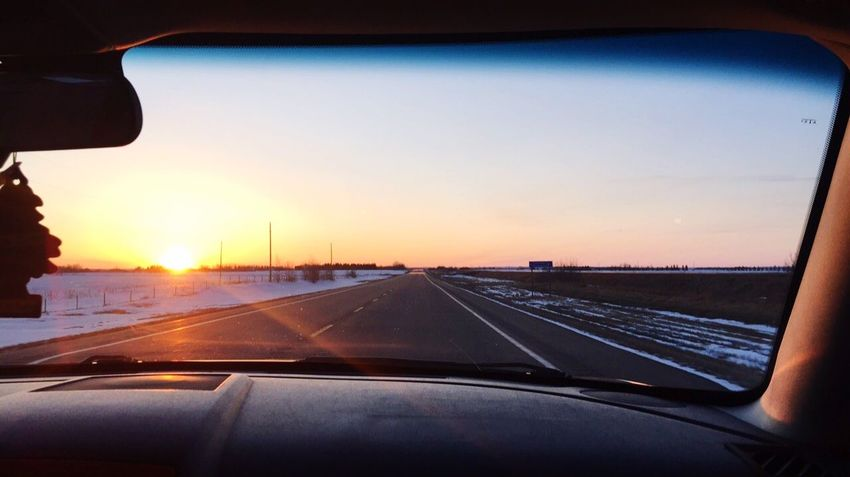 Cold Temperature Winter Photographer Photography Photoshoot Sunset Car Vehicle Interior Transportation Windshield Transparent Glass - Material Sunset Sky Nature Road Travel
