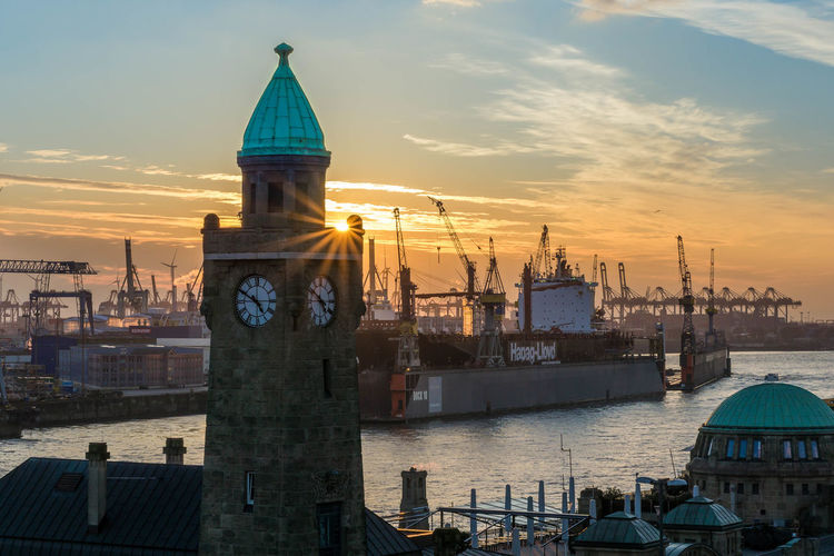 Hamburg Hamburg Meine Perle Architecture Building Exterior Built Structure City Cityscape Cloud - Sky Commercial Dock Day Dome Harbor Moored Nature Nautical Vessel No People Outdoors Sea Sky Sunset Transportation Travel Destinations Water