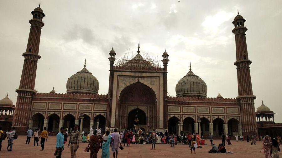 Delhi Jama Masjid City Dome Architecture Building Exterior Sky Built Structure
