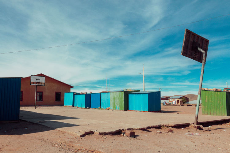 Abandoned Architecture Blue Bolivia Building Exterior Buildings Built Structure Day Nature No People Outdoors Sand Sky Sky And Clouds Small Town South America Travel Destinations Tristesse Village