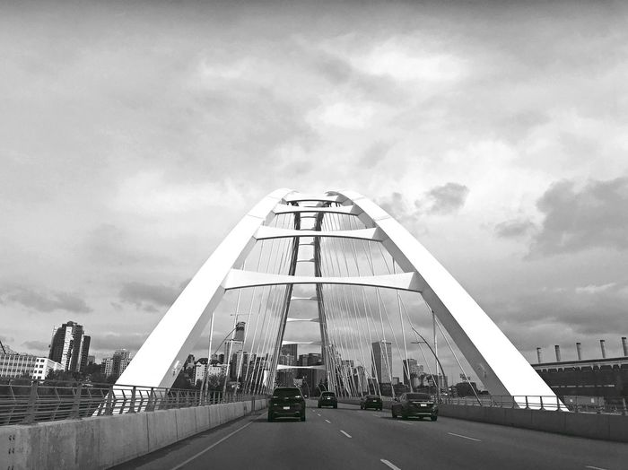 Black And White Bw Sky Architecture Cloud - Sky Built Structure Building Exterior City Nature Transportation Low Angle View Road The Way Forward EyeEmNewHere