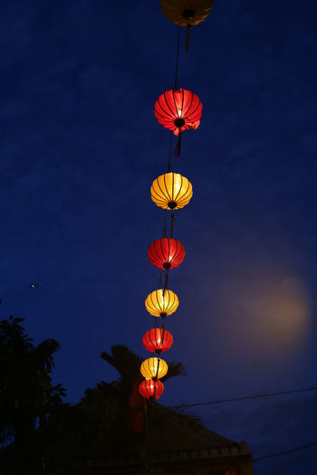Low Angle View Illuminated Lighting Equipment Sky Decoration Hanging Lantern No People Nature Celebration Night Dusk Chinese Lantern Electricity  Tree Red Glowing Outdoors Blue Chinese Lantern Festival Chinese New Year Festival