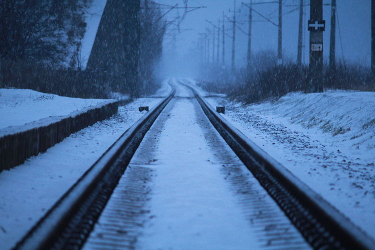 Surface Level Of Snow Covered Railway Tracks