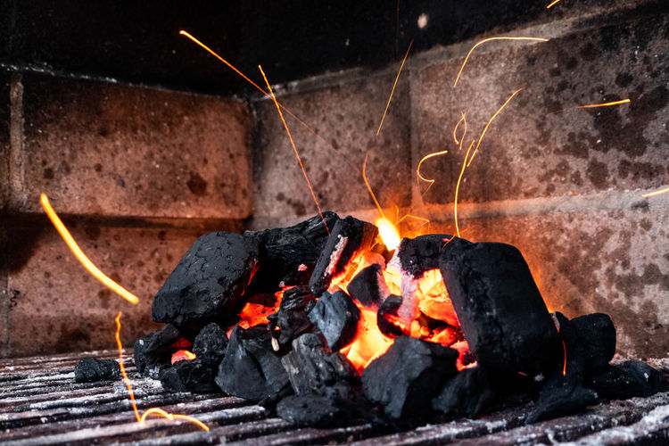Heat - Temperature Burning Fire Fire - Natural Phenomenon Flame Nature Motion Wood - Material No People Glowing Wood Kitchen Utensil Log Firewood Food And Drink Bonfire Long Exposure Food Coal Orange Color Campfire