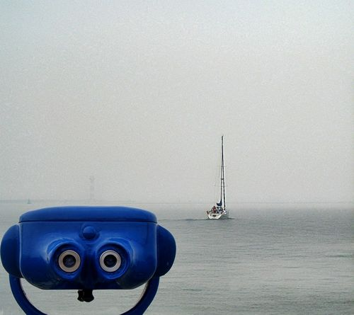 Cut And Paste Beauty In Nature Brouillard Matinal Coin-operated Binoculars Foggy Morning Nature Nautical Vessel No People Outdoors Sailing Sea Water