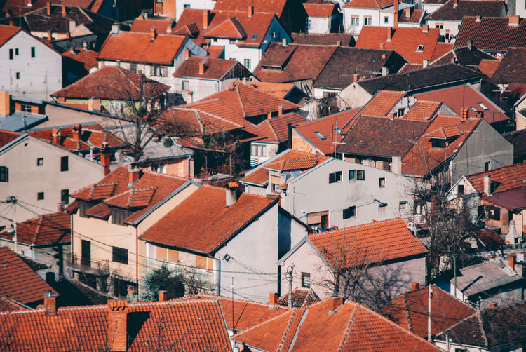 High angle shot of houses in town