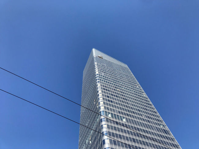 Architecture Blue Building Building Exterior Built Structure City Clear Sky Copy Space Day Financial District  Low Angle View Modern Nature No People Office Office Building Exterior Outdoors Sky Skyscraper Tall - High Tower