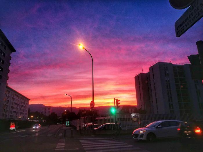 City Street Illuminated Traffic Travel Destinations Multi Colored Cloud - Sky Beautiful Colors