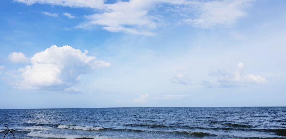 Water Sea Beach Blue Sky Horizon Over Water Cloud - Sky Landscape