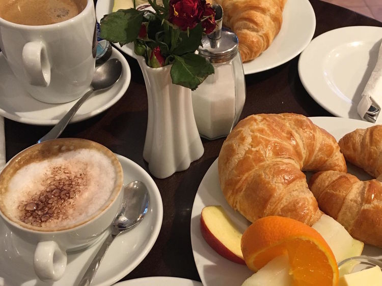 Breakfast Cappuccino Coffee - Drink Coffee Cup Croissant Cup Day Drink Food Food And Drink Freshness Froth Art Frothy Drink Hotel Breakfast Hotel Room Latte No People Plate Ready-to-eat Refreshment Saucer Sweet Food Table
