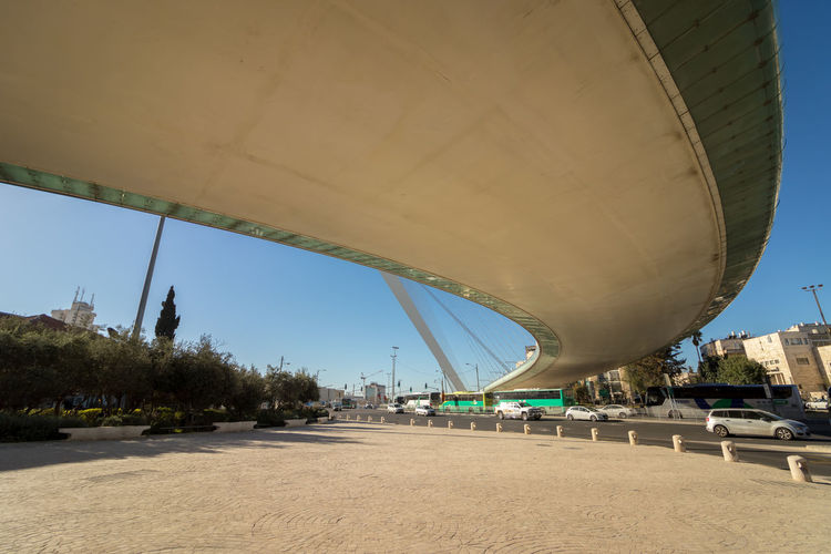 Panoramic view of bridge over city against clear sky