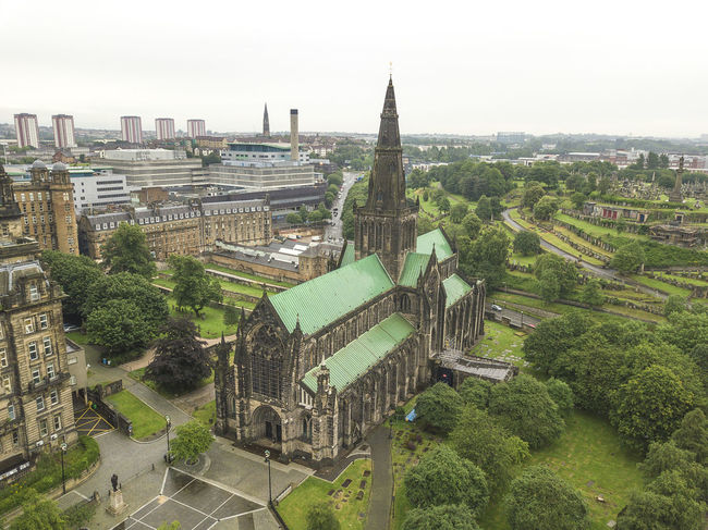 Glasgow Cathedral Aerial Aerial Shot Aerial View Aerial Views Architecture Building Exterior Built Structure Cathedral Church City Cityscape Day Glasgow  Glasgow Cathedral High Angle View No People Outdoors Scotland Sky Tower Travel Destinations Tree