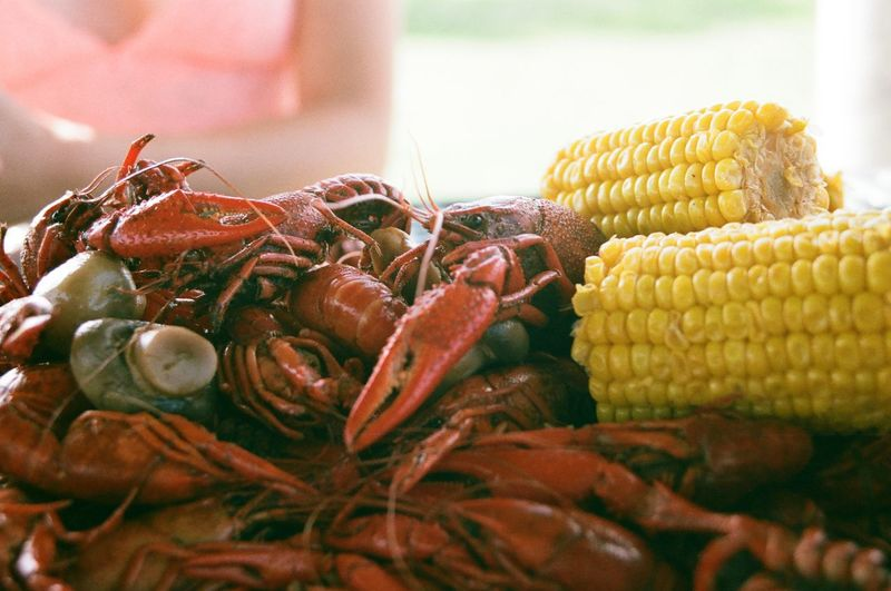 Close-up of seafood and corns