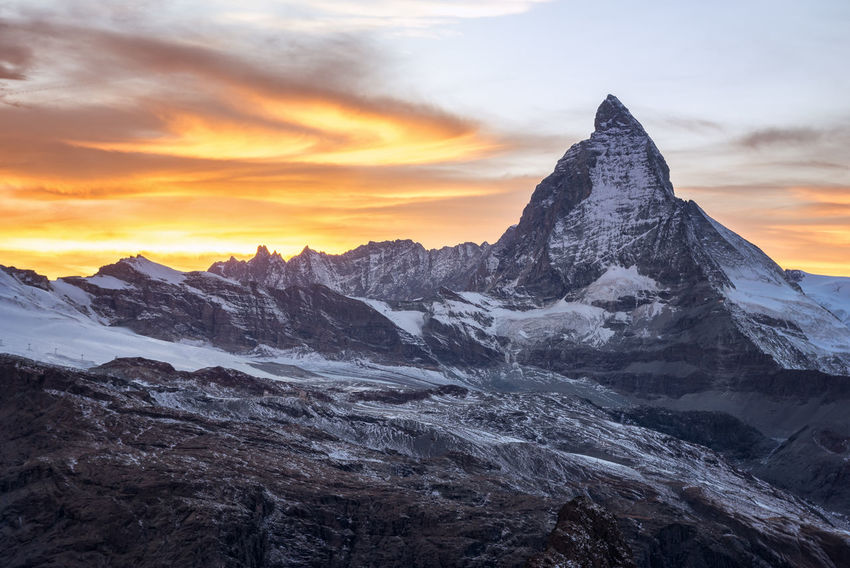 Matterhorn Sunset Matterhorn  Matterhorn Zermatt Schweiz Switzerland Alps Beauty In Nature Cloud - Sky Cold Temperature Day Height Landscape Matterhorn Switzerla Mountain Mountain Range Nature No People Outdoors Peak Scenics Sky Snow Sunset Switzerland Tranquil Scene Tranquility Winter
