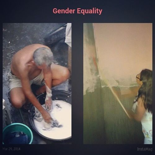 This is Gender Equality. ♡♥ HAHA. Si Mama naga'pintoraharium, si Mapa naga'labadaria. Gender Equality isn't? Isn't it amayzaang? Stolen LovingParent GenderEquality