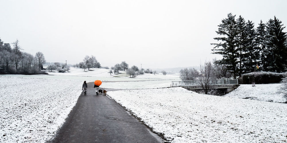 Rear view of people walking on snow covered field against sky