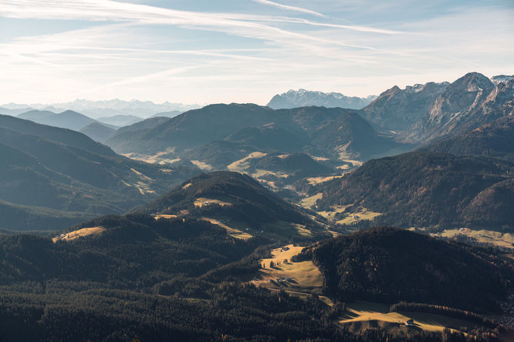 Panoramic view at layers of hills and mountains in the austrian alps near filzmoos, austria.