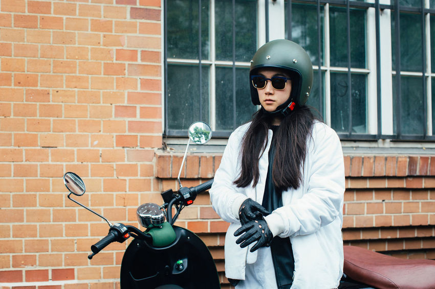Adventure Brick Wall Fashion Girl Gloves Jurney Mobility One Woman Only Only Women Outdoors Scooter Street Student