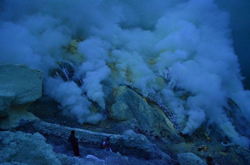 Sulphur smokes inside the Ijen crater Ijen Crater Kawah Ijen Ijen IjenMountain East Java Toxic Gas INDONESIA Volcano