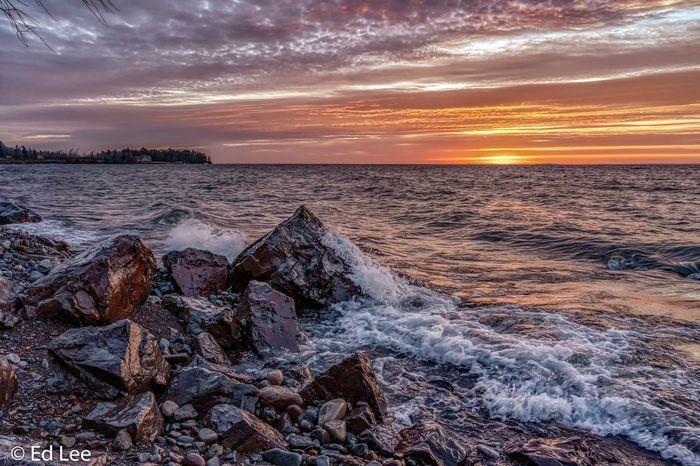 Sunrise on Lake Superior Lake Superior Sunrise_sunsets_aroundworld Sunrise Landscape_Collection Winter Beauty In Nature Nature Minnesota Streamzoofamily Malephotographerofthemonth Sunset Sky Sea Beach Scenics - Nature Water Beauty In Nature