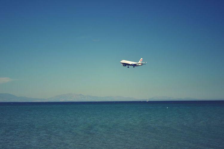 British Airways approach into Gibraltar Aviation Airplane Landing British Airways Beach Aeroplane Final Approach