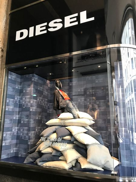 Building Exterior Store Retail  Built Structure Manequin Window Design Window Dressing Visual Merchandising Pillow Diesel Fashion Fashionista Moda Milano Italy